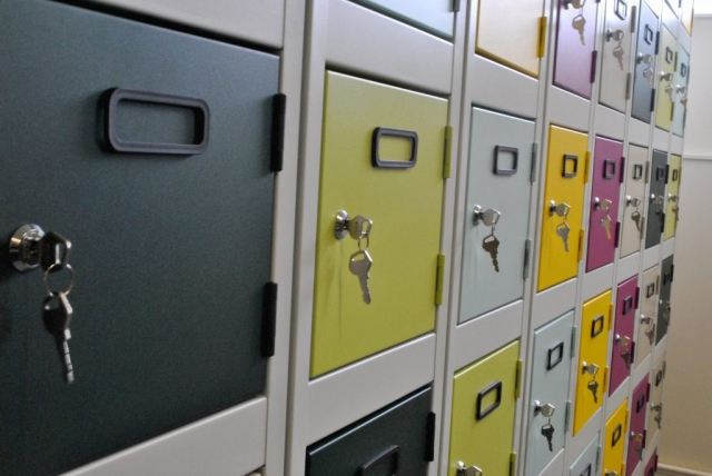Multi coloured lockers to brighten up a cloakroom area